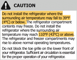 Sample From An Owneru0027s Manual, Warning About Temperatures